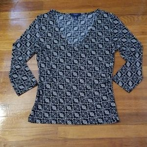 Chaus Black and Ivory Design Criss Cross Blouse